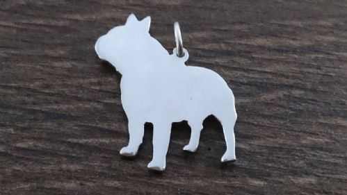 Frenchie Male dog silhouette pendant sterling silver handmade by saw piercing Caroline Howlett Design